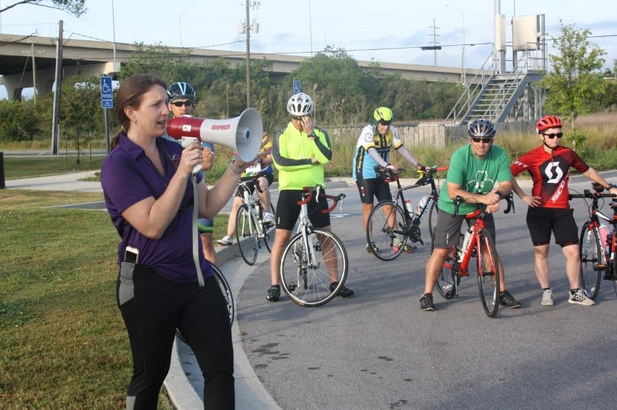 Kristi Ducote announces last need-to-know details before the ride.