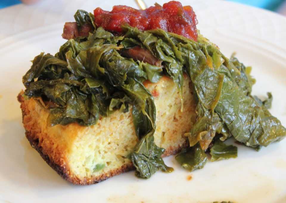 corn bread and greens