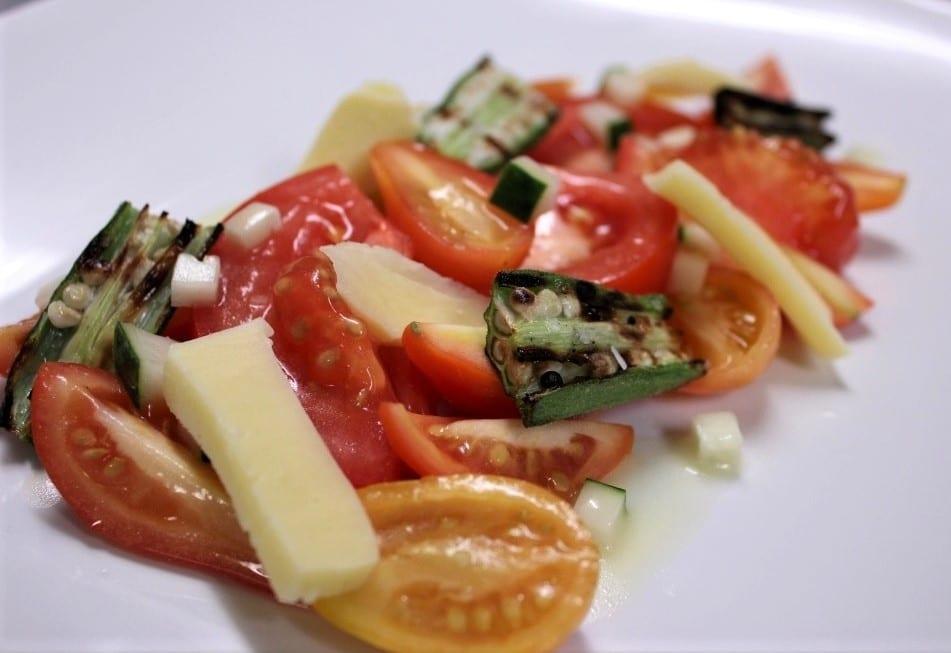 Tomato and okra salad at Vestige