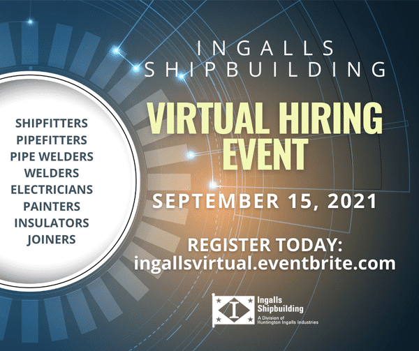 Get hired TODAY by Ingalls